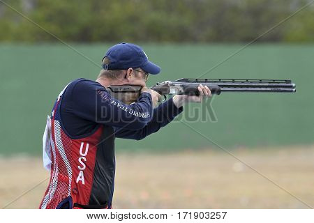 Rio Brazil - august 10 2016: Double Trap Men at Olympic Games 2016 in Olympic Shooting Centre Deodoro