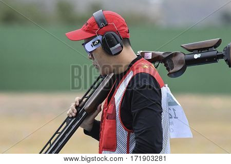 Rio Brazil - august 10 2016: Qiang Pan (CHN) during Double Trap Men at Olympic Games 2016 in Olympic Shooting Centre Deodoro