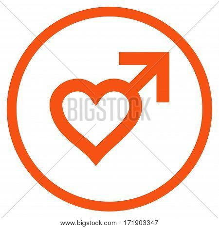 Male Heart rounded icon. Vector illustration style is flat iconic bicolor symbol inside circle orange and gray colors white background.
