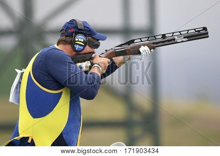 Rio Brazil - august 10 2016: DAHLBY Hakan (SWE) during Double Trap Men at Olympic Games 2016 in Olympic Shooting Centre Deodoro