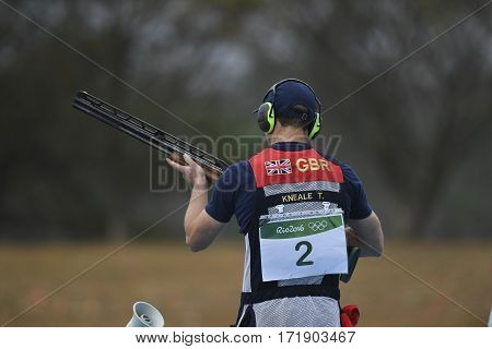 Rio Brazil - august 10 2016: KNEALE Tim (GBR) during Double Trap Men at Olympic Games 2016 in Olympic Shooting Centre Deodoro