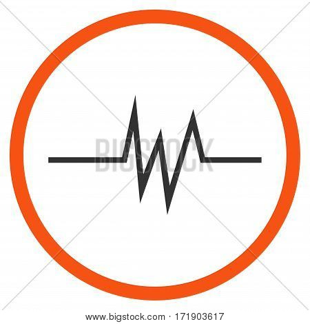 Pulse Signal rounded icon. Vector illustration style is flat iconic bicolor symbol inside circle orange and gray colors white background.