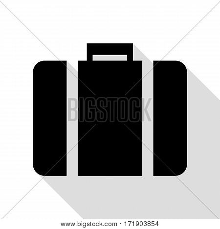 Briefcase sign illustration. Black icon with flat style shadow path.