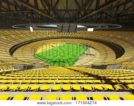 3D Render Of A Round Rugby Stadium With  Yellow Seats And Vip Boxes