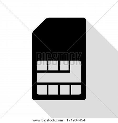 Sim card sign. Black icon with flat style shadow path.