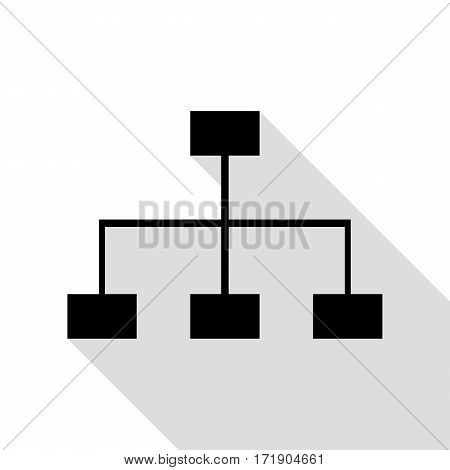 Site map sign. Black icon with flat style shadow path.