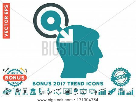 Soft Blue Brain Interface Plug-In pictogram with bonus 2017 year trend pictures. Vector illustration style is flat iconic bicolor symbols white background.
