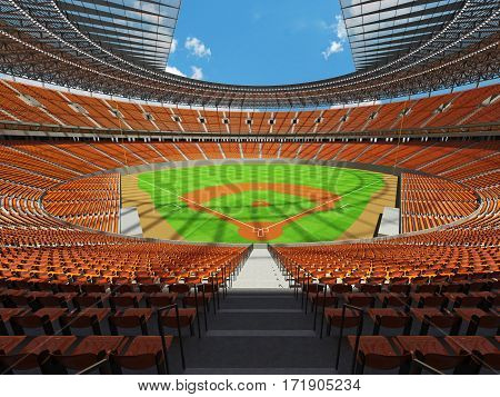 3D render of baseball stadium with orange seats VIP boxes and floodlights for hundred thousand people