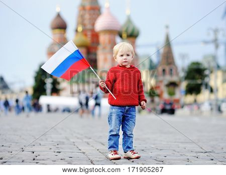 Cute Toddler Boy Holding Russian Flag