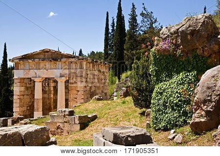 Athenian Treasury at Delphi, Greece. Doric architecture. Made of Parian marble.