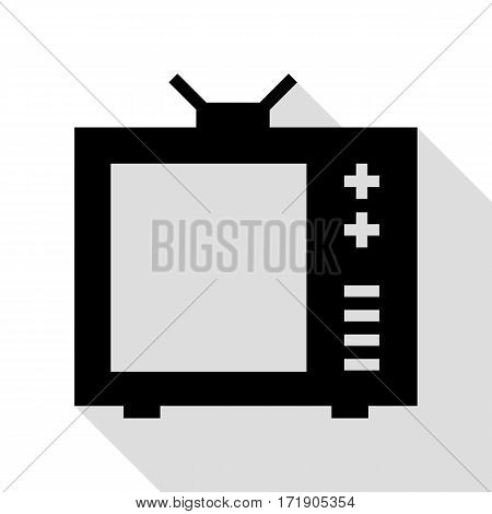 TV sign illustration. Black icon with flat style shadow path.