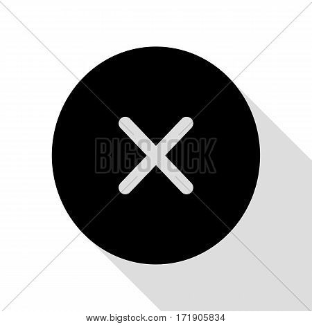 Cross sign illustration. Black icon with flat style shadow path.