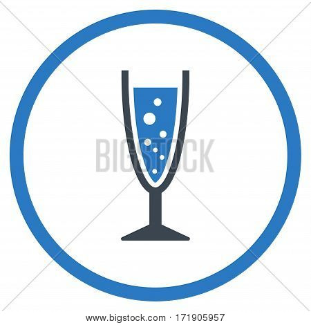 Champagne Glass rounded icon. Vector illustration style is flat iconic bicolor symbol inside circle, smooth blue colors, white background.