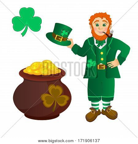 Smiling leprechaun in green clothes with a pipe in his mouth, with hat in hand. Shamrock and pan with Golden coins
