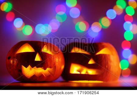 Two Halloween Pumpkins Head Jack Lantern