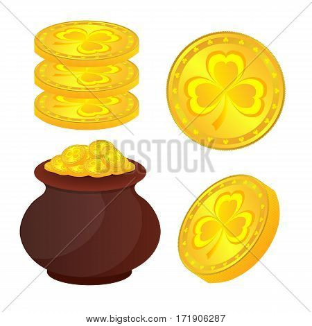Gold coins with a Shamrock in a large pan and separately