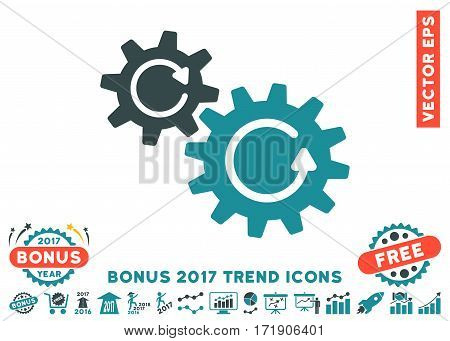 Soft Blue Cogs Rotation pictograph with bonus 2017 year trend icon set. Vector illustration style is flat iconic bicolor symbols white background.