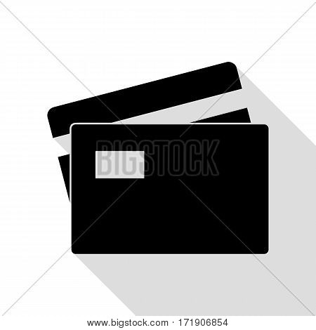 Credit Card sign. Black icon with flat style shadow path.