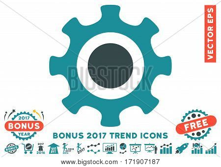 Soft Blue Cogwheel pictograph with bonus 2017 year trend pictograph collection. Vector illustration style is flat iconic bicolor symbols white background.