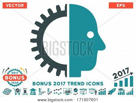 Soft Blue Cyborg Head icon with bonus 2017 trend design elements. Vector illustration style is flat iconic bicolor symbols white background.