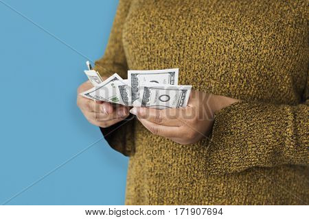Woman Holding Money Banknote Concept