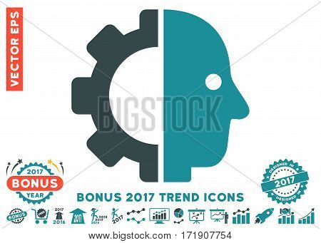 Soft Blue Cyborg Head pictogram with bonus 2017 trend clip art. Vector illustration style is flat iconic bicolor symbols white background.