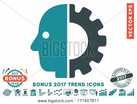 Soft Blue Cyborg Head icon with bonus 2017 trend elements. Vector illustration style is flat iconic bicolor symbols white background.