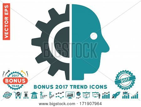 Soft Blue Cyborg Head icon with bonus 2017 year trend pictograms. Vector illustration style is flat iconic bicolor symbols white background.