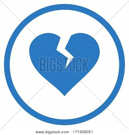 Heart Break rounded icon. Vector illustration style is flat iconic bicolor symbol inside circle, smooth blue colors, white background.