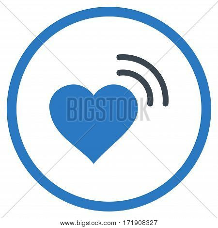 Heart Radio Signal rounded icon. Vector illustration style is flat iconic bicolor symbol inside circle, smooth blue colors, white background.