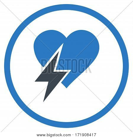 Heart Shock rounded icon. Vector illustration style is flat iconic bicolor symbol inside circle, smooth blue colors, white background.