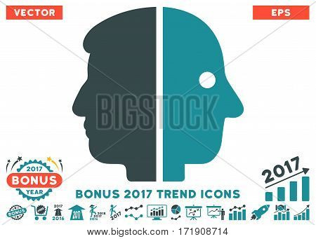 Soft Blue Dual Face pictograph with bonus 2017 year trend images. Vector illustration style is flat iconic bicolor symbols white background.