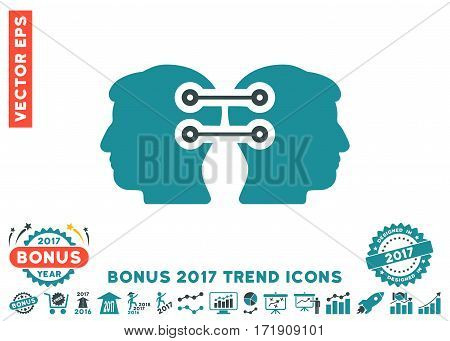 Soft Blue Dual Heads Interface Connection pictograph with bonus 2017 year trend symbols. Vector illustration style is flat iconic bicolor symbols white background.
