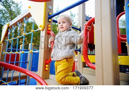 Cute Toddler Boy Having Fun On Outdoors Playground