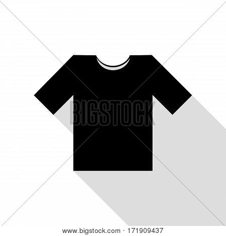 T-shirt sign illustration. Black icon with flat style shadow path.