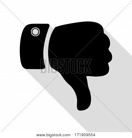 Hand sign illustration. Black icon with flat style shadow path.