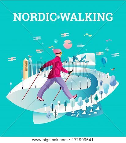 Vector illustrated card with Nordic Walking. The flat illustration of woman hiking in winter city.