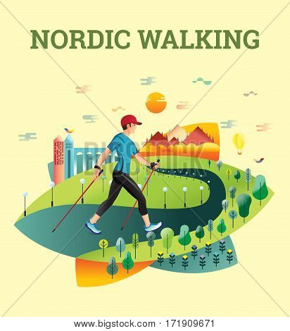 Vector illustrated card with Nordic Walking. The flat illustration of man hiking in summer city.