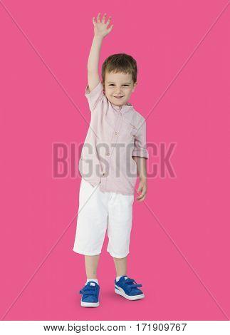 Caucasian Little Boy Cheerful Raising Hand