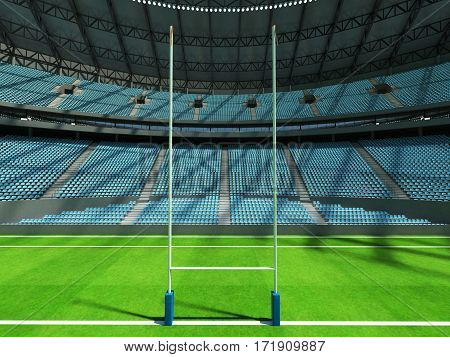 3D Render Of A Round Rugby Stadium With  Sky Blue Seats And Vip Boxes