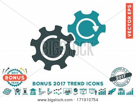 Soft Blue Gears Rotation pictograph with bonus 2017 trend symbols. Vector illustration style is flat iconic bicolor symbols white background.
