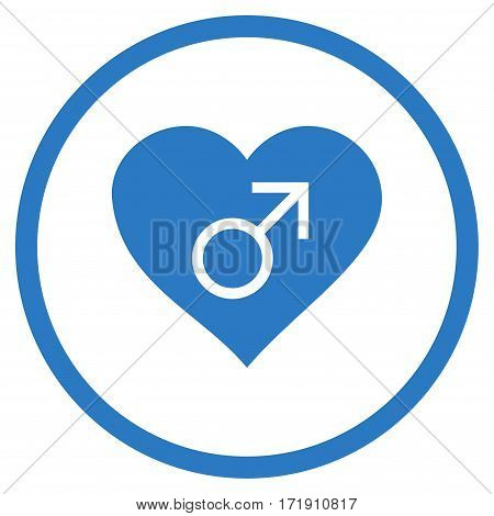 Male Love Heart rounded icon. Vector illustration style is flat iconic bicolor symbol inside circle, smooth blue colors, white background.