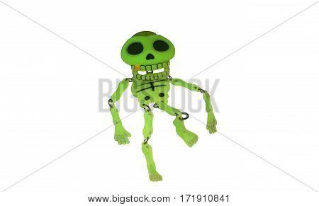 Glowing skeleton toy green trinket bones toy