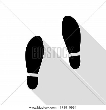Imprint soles shoes sign. Black icon with flat style shadow path.