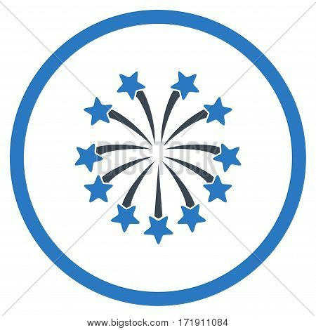 Spherical Fireworks rounded icon. Vector illustration style is flat iconic bicolor symbol inside circle, smooth blue colors, white background.