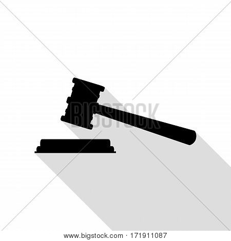 Justice hammer sign. Black icon with flat style shadow path.