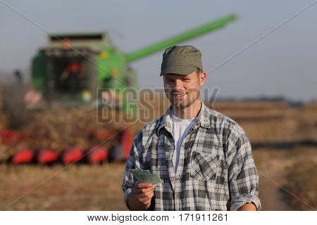 Farmer, Money And Harvest, Agricultural Concept