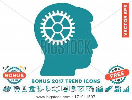Soft Blue Intellect Cog pictograph with bonus 2017 year trend clip art. Vector illustration style is flat iconic bicolor symbols white background.