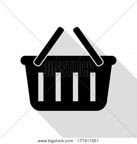 Shopping basket sign. Black icon with flat style shadow path.