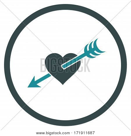 Arrow Heart rounded icon. Vector illustration style is flat iconic bicolor symbol inside circle, soft blue colors, white background.